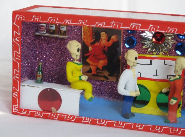 Skeleton Figures in Cantina, Day of Dead diorama box