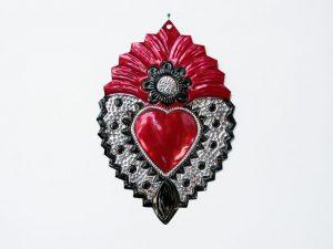 Tin Heart Wall Decor, sunflower design, 9-inch, by HG