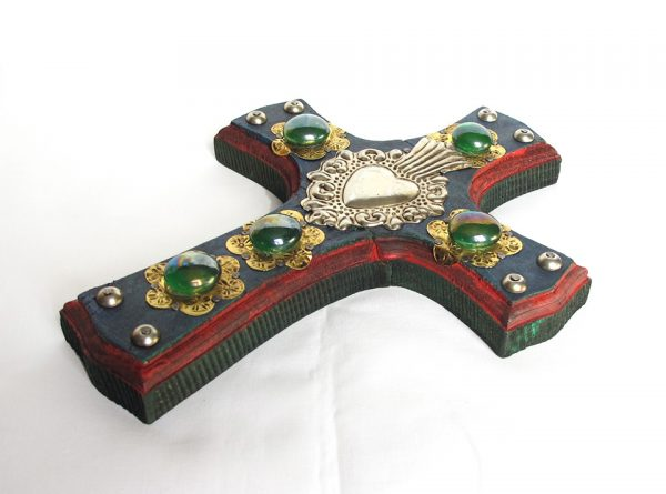Wood Cross, with tin heart and green gems