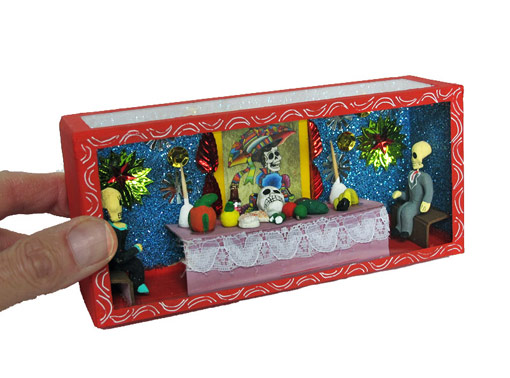 2 Skeletons at Altar Table, Day of Dead diorama box