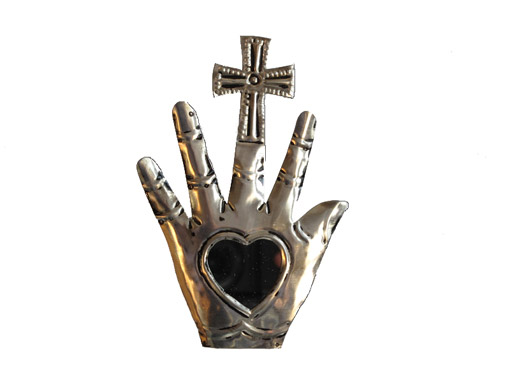 Hamsa Hand with Heart-Shaped Mirror and Cross, tin plaque