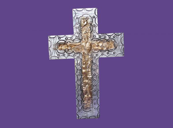 Wood Cross, with foil and milagros