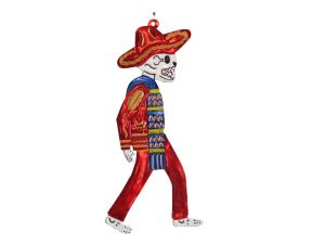 Skeleton Charro wearing red outfit with blue serape, tin wall decor, 9.5-inch