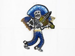 Skeleton Mariachi Violinist, with angel wings, tin wall decor