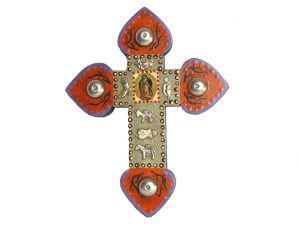 Wood Cross with Guadalupe and milagros