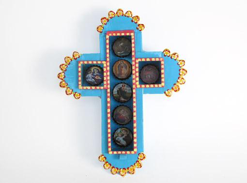 Tin Cross Nicho with Bottle Caps, wall decor