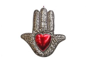 Hamsa Hand with Heart, tin wall art by FA, 8-inch
