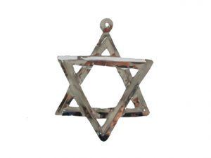 Tin Star of David Ornament, silver color