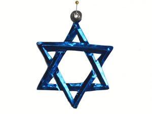Tin Star of David Ornament, blue color