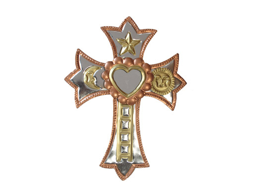 Tin Cross with Heart Mirror, bronze border color