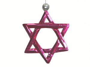 Tin Star of David Ornament, fuchsia color