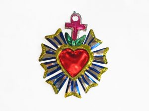 Sacred Heart w/Divine Light, painted tin ornament, 4-inch tall