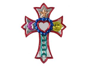 Tin Cross With Heart Mirror, red color accent