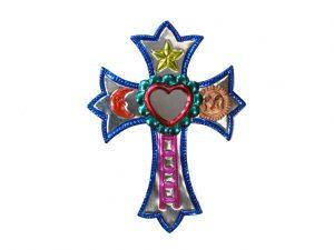 Tin Cross with Heart Mirror, blue border color