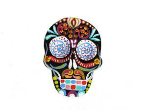 TIN MAGNET - Skull, black
