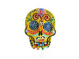 TIN MAGNET - Skull, yellow