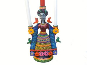 Skeleton Frida Kahlo Mexican Pottery Candelero, 8.5-inch