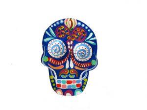 TIN MAGNET - Skull, blue