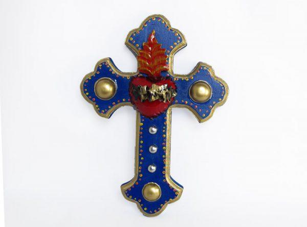 Wood Cross with Tin Heart, blue