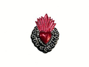 TIN MAGNET - Sacred Heart with Flame #2