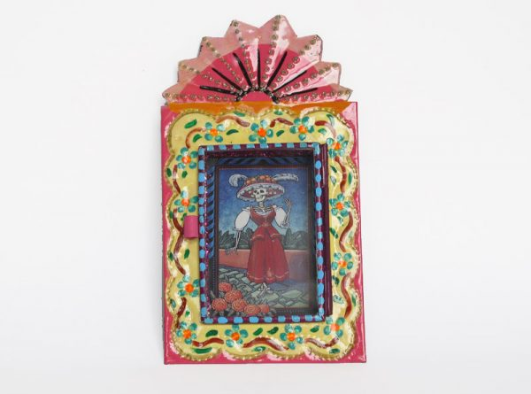 Mexican Tin Nicho, La Catrina in Garden, hand-painted, pink frame, 6-inch
