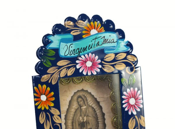 Mexican Tin Nicho, Lady of Guadalupe print, hand-painted, blue frame, 6-inch