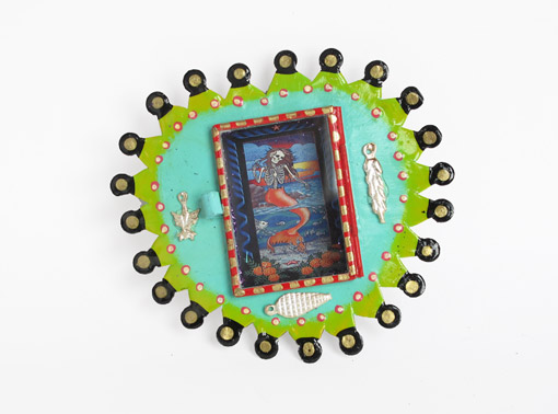 Mexican Tin Nicho, Skeleton Mermaid in heart-shaped, green frame, 5-inch