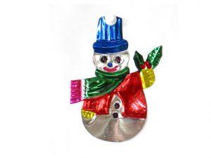 Snowman, tin Christmas ornament