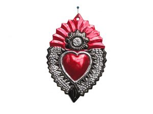 Mexican Tin Heart Plaque with sunflower emblem, by HG