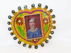 Frida Kahlo, Mexican Tin Nicho Yellow Heart, 6-inch