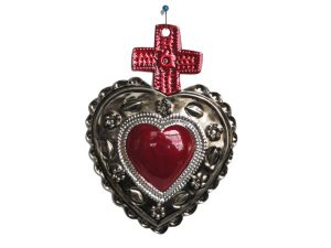 Mexican Tin Art Heart with Cross, antique look finish