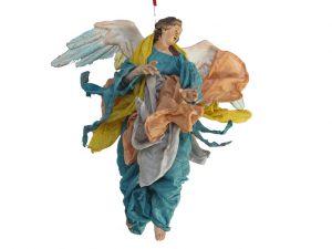 Neapolitan Hanging Nativity Angel, terra-cotta,10-inch, green/yellow/tam