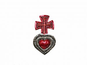 TIN MAGNET - Heart with Red Cross
