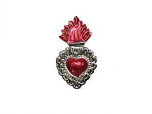 TIN MAGNET - Sacred Heart with Flame, #1