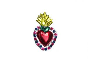 TIN MAGNET - Sacred Heart with Flame, #4