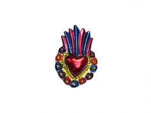 TIN MAGNET - Sacred Heart with Flame, #5