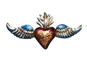 Tin Heart with Angel Wings, red/blue, 3D wall decor, 14-inch