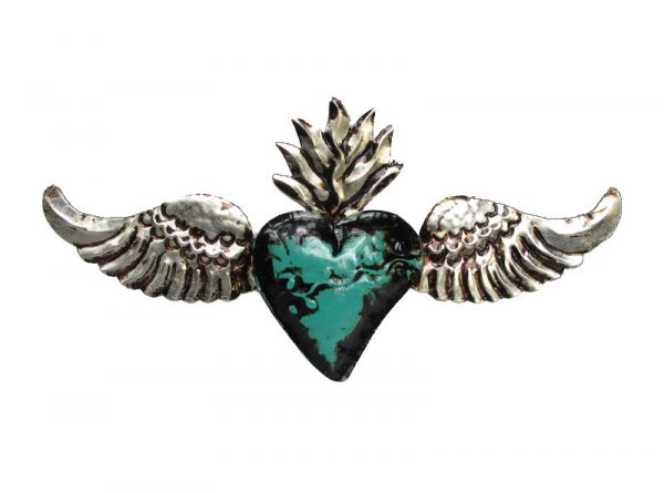 Tin Heart with Angel Wings, 3D wall decor, green, 14-inch