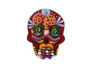 TIN MAGNET - Skull, brick red