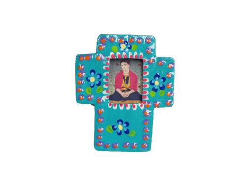 TIN MAGNET - Frida Kahlo in green frame
