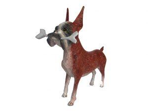 Dog, Boxer w/Bone, Oaxacan Wood Carving, red