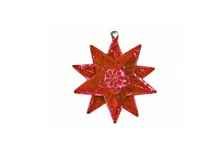 Tin Star Christmas Ornament, red, 3.5-inch with 10 star points