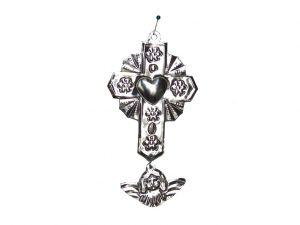 Tin Cross w/Milagro Angel