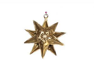 Tin Star Christmas Ornament, Gold, 3.5 inch with 10 points