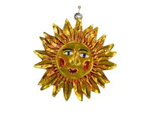 Yellow Sun Face, Mexican tin ornament
