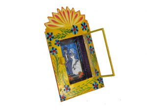 Skeleton Bride & Groom, hand-painted, Mexican tin nicho frame, yellow, 6-inch
