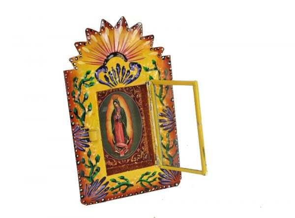 Mexican Tin Nicho, Lady of Guadalupe, in hand-painted yellow frame, 6 inch