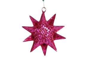 Tin Star Christmas Ornament, Pink, 4-inch with 10 star points