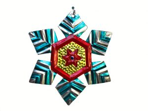 Snowflake, Mexican Tin Ornament, 4-inch