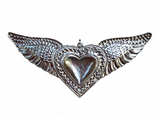 Tin Heart with Wings, purple accent, wall decor by HG, 11-inch